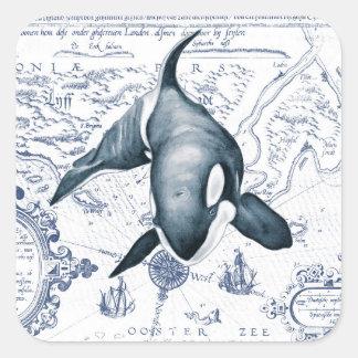 Adesivo Quadrado Azul do mapa da orca