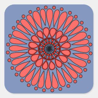 Adesivo Quadrado Azul - mandala dobro coral do girassol