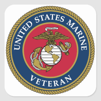 Adesivo Quadrado Azul marinho do veterano dos E.U.