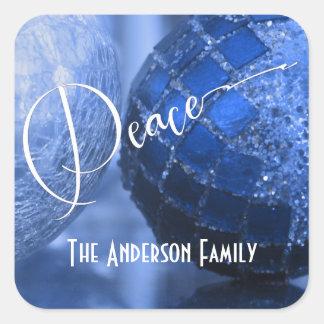 Adesivo Quadrado Azul, prata & cumprimento branco da paz por