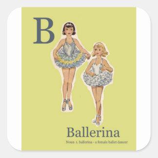 Adesivo Quadrado B para o papel de embrulho da bailarina