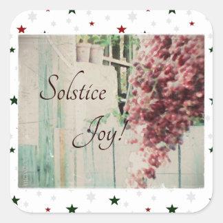 Adesivo Quadrado Bagas de dezembro da alegria do solstício de