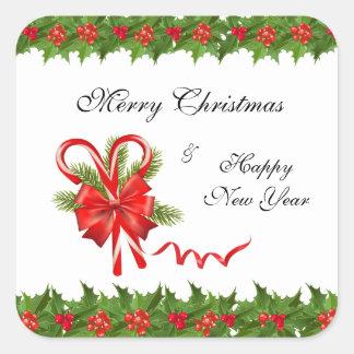 Adesivo Quadrado Bagas Natal do azevinho e bastões de doces