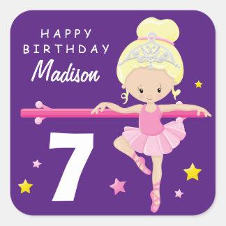 Adesivo Quadrado Bailarina do feliz aniversario