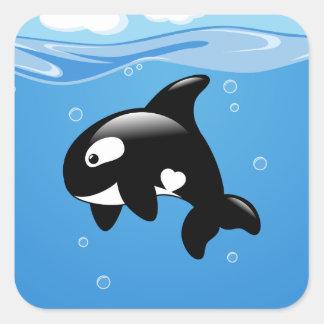 Adesivo Quadrado Baleia pequena bonito da orca no oceano
