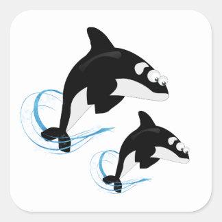 Adesivo Quadrado baleias