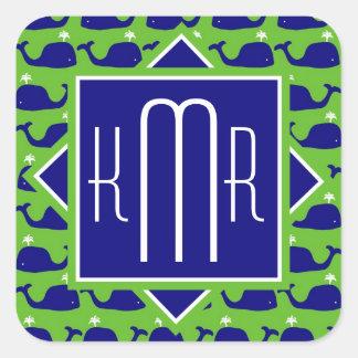 Adesivo Quadrado Baleias formais do verde azul do monograma |