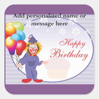 Adesivo Quadrado Balões do palhaço do aniversário