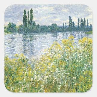 Adesivo Quadrado Bancos de Claude Monet | do Seine, Vetheuil, 1880