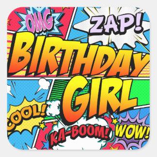 Adesivo Quadrado Banda desenhada da menina do aniversário
