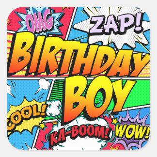 Adesivo Quadrado Banda desenhada do menino do aniversário