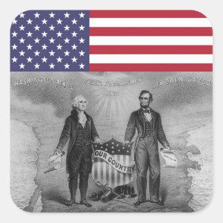 Adesivo Quadrado Bandeira americana de George Washington Abraham