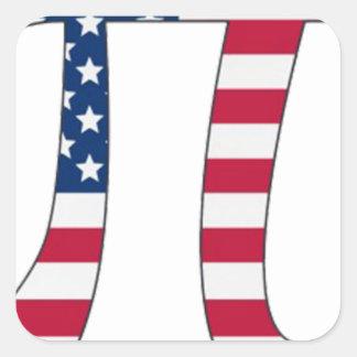 Adesivo Quadrado Bandeira americana do dia do Pi, símbolo do pi