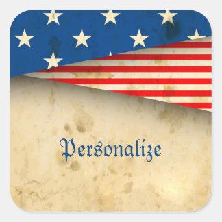 Adesivo Quadrado Bandeira americana do vintage