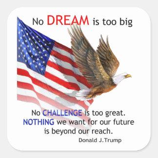 Adesivo Quadrado Bandeira & citações do trunfo de Eagle Donald J