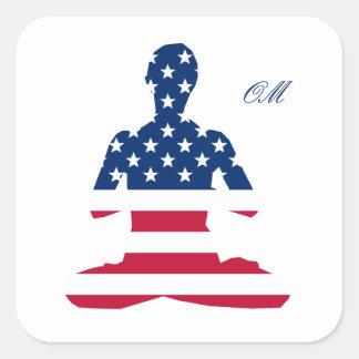 Adesivo Quadrado Bandeira da ioga do americano da meditação dos EUA