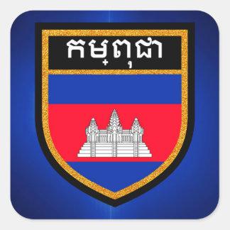 Adesivo Quadrado Bandeira de Cambodia