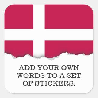 Adesivo Quadrado Bandeira de Dinamarca