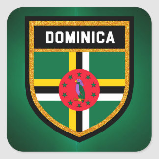 Adesivo Quadrado Bandeira de Dominica