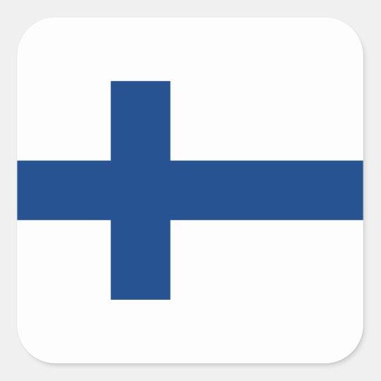 Adesivo Quadrado Bandeira de Finlandia (lippu de Suomen, flagga de