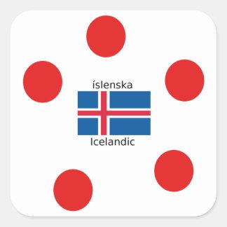 Adesivo Quadrado Bandeira de Islândia e design islandês da língua