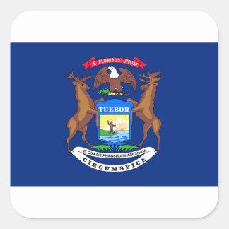 Adesivo Quadrado Bandeira de Michigan