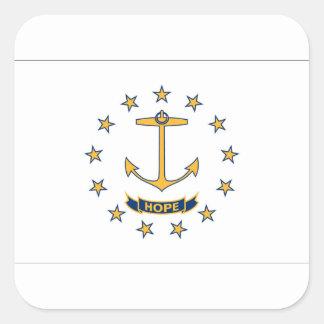 Adesivo Quadrado Bandeira de Rhode - ilha