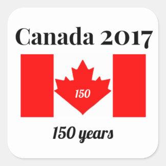 Adesivo Quadrado Bandeira do coração de Canadá 150 em 2017