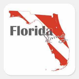 Adesivo Quadrado Bandeira do mergulho autónomo de Florida