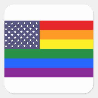 Adesivo Quadrado Bandeira do orgulho do arco-íris dos E.U.