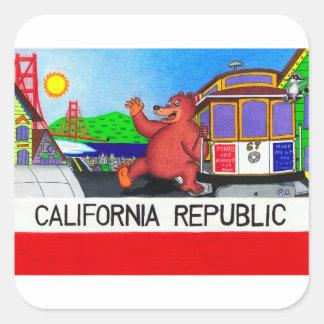 Adesivo Quadrado Bandeira do urso de San Francisco Califórnia