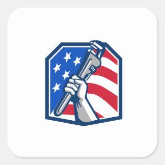 Adesivo Quadrado Bandeira dos EUA da chave de tubulação da mão do
