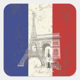 Adesivo Quadrado Bandeira e símbolos de France ID156
