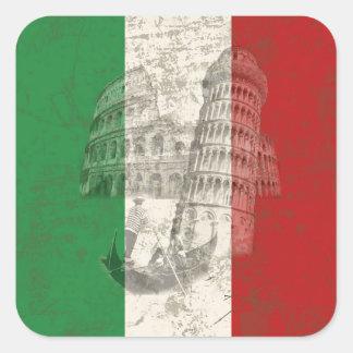 Adesivo Quadrado Bandeira e símbolos de Italia ID157