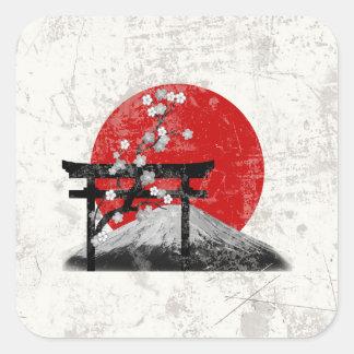Adesivo Quadrado Bandeira e símbolos de Japão ID153