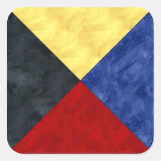 Adesivo Quadrado Bandeira marítima do sinal náutico da aguarela