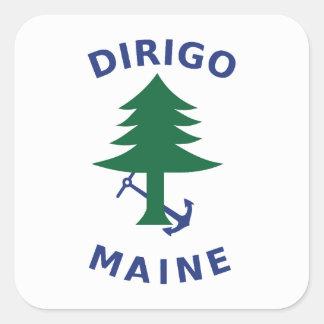 Adesivo Quadrado Bandeira mercante e marinha de Maine