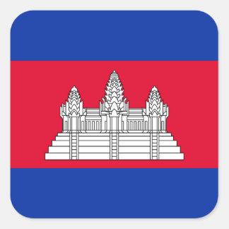 Adesivo Quadrado Bandeira nacional do mundo de Cambodia