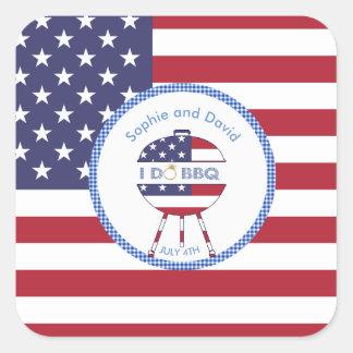 Adesivo Quadrado Bandeira original 4o dos EUA do partido de julho