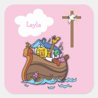 Adesivo Quadrado Baptismo customizável da arca de Noah, rosa da