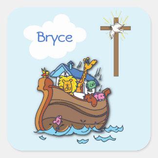 Adesivo Quadrado Baptismo customizável do bebê da arca de Noah,