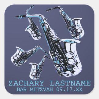 Adesivo Quadrado Bar Mitzvah do saxofone