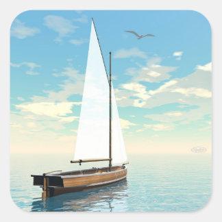 Adesivo Quadrado Barco de navigação - 3D rendem