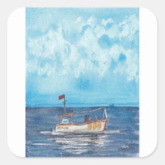 Adesivo Quadrado Barco de pesca