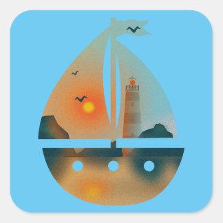 Adesivo Quadrado Barco de Sunset_sail