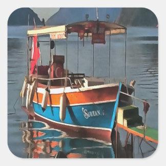 Adesivo Quadrado Barco Marmaris do táxi da sultão