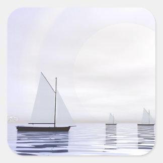 Adesivo Quadrado Barcos de navigação - 3D rendem