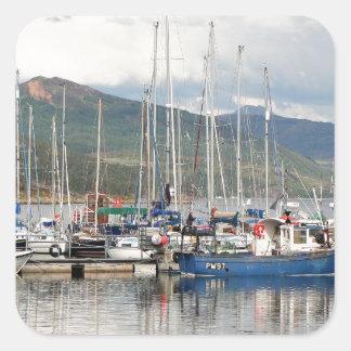 Adesivo Quadrado Barcos em Kyleakin, ilha de Skye, Scotland