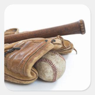 Adesivo Quadrado Basebol e bastão do vintage