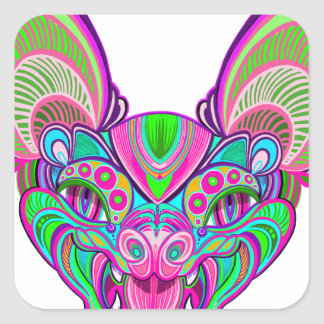 Adesivo Quadrado Bastão psicadélico do arco-íris